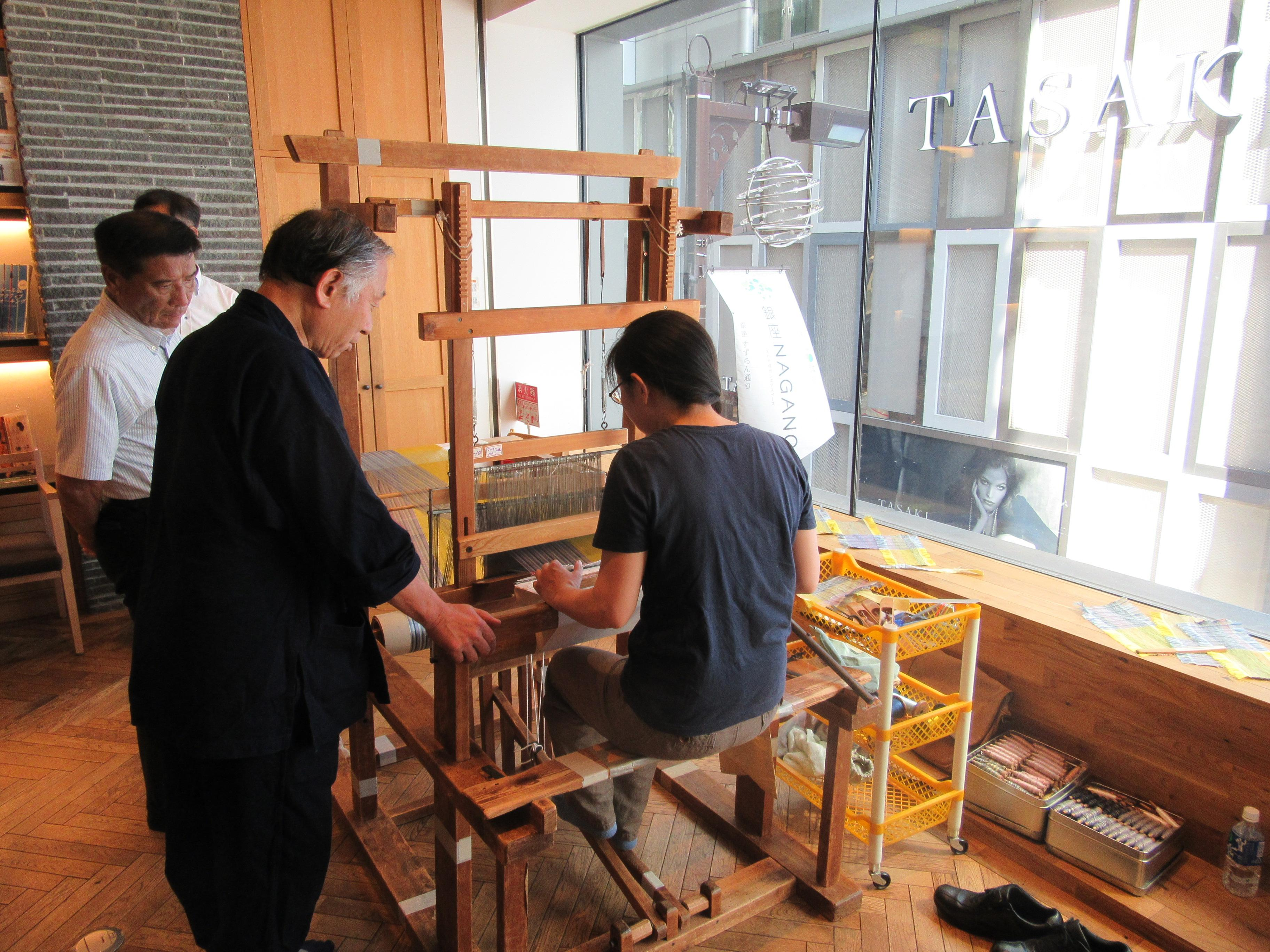 The treadle loom used from ancient times in Japan