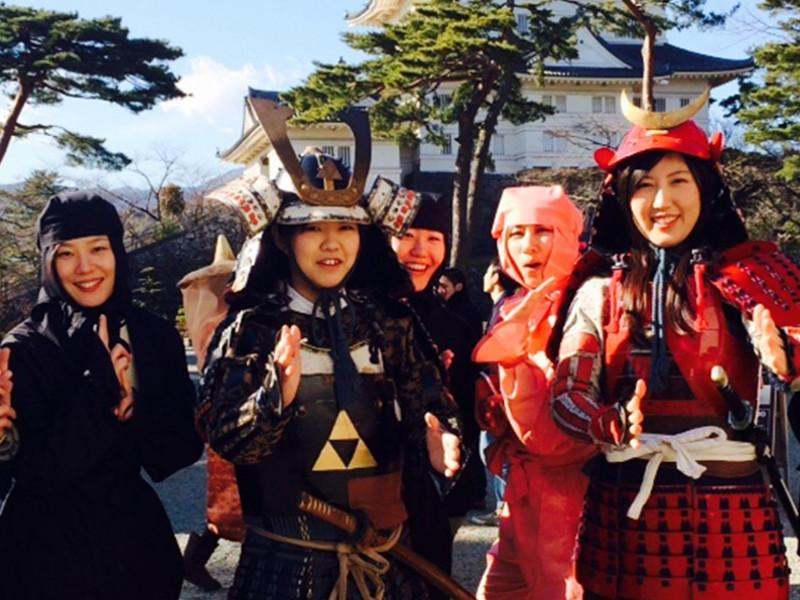 Samurai and Ninja Costumes Dressing Up in Odawara Castle